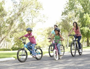 Family Biking Outdoors, WaterColor, 30A